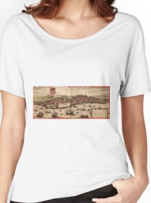 Lisbon Vintage map.Geography Portugal ,city view,building,political,Lithography,historical fashion,geo design,Cartography,Country,Science,history,urban Women's Relaxed Fit T-Shirt