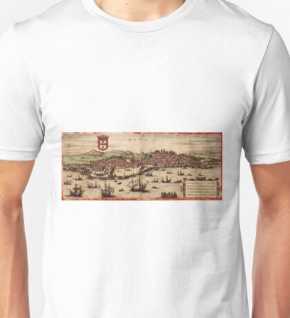 Lisbon Vintage map.Geography Portugal ,city view,building,political,Lithography,historical fashion,geo design,Cartography,Country,Science,history,urban Unisex T-Shirt