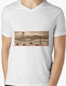 Lisbon Vintage map.Geography Portugal ,city view,building,political,Lithography,historical fashion,geo design,Cartography,Country,Science,history,urban Mens V-Neck T-Shirt