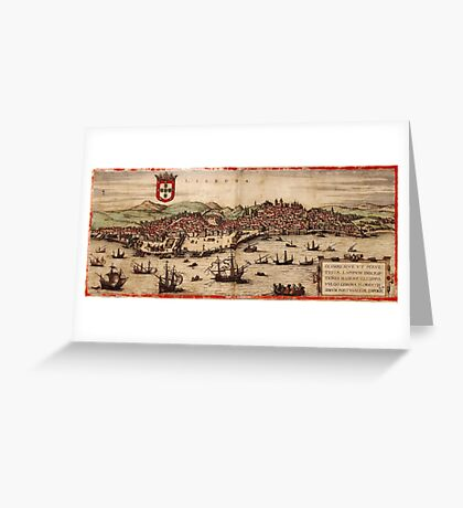 Lisbon Vintage map.Geography Portugal ,city view,building,political,Lithography,historical fashion,geo design,Cartography,Country,Science,history,urban Greeting Card
