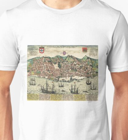 Lisbon2 Vintage map.Geography Portugal ,city view,building,political,Lithography,historical fashion,geo design,Cartography,Country,Science,history,urban Unisex T-Shirt