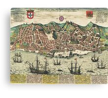 Lisbon2 Vintage map.Geography Portugal ,city view,building,political,Lithography,historical fashion,geo design,Cartography,Country,Science,history,urban Canvas Print