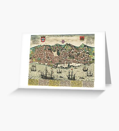 Lisbon2 Vintage map.Geography Portugal ,city view,building,political,Lithography,historical fashion,geo design,Cartography,Country,Science,history,urban Greeting Card