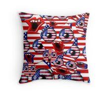 over crowded USA smileys Throw Pillow
