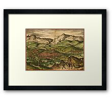 Loja Vintage map.Geography Spain ,city view,building,political,Lithography,historical fashion,geo design,Cartography,Country,Science,history,urban Framed Print