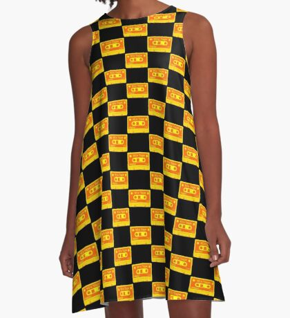 Psychedelic Mix Tape - Orange and Yellow A-Line Dress
