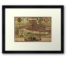London Vintage map.Geography Great Britain ,city view,building,political,Lithography,historical fashion,geo design,Cartography,Country,Science,history,urban Framed Print