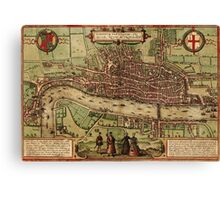 London Vintage map.Geography Great Britain ,city view,building,political,Lithography,historical fashion,geo design,Cartography,Country,Science,history,urban Canvas Print