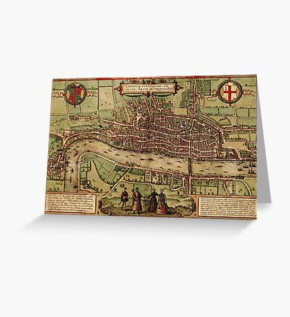 London Vintage map.Geography Great Britain ,city view,building,political,Lithography,historical fashion,geo design,Cartography,Country,Science,history,urban Greeting Card