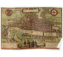 London Vintage map.Geography Great Britain ,city view,building,political,Lithography,historical fashion,geo design,Cartography,Country,Science,history,urban Poster