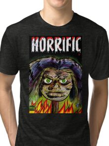 Horrific Shrunken head comic cover Tri-blend T-Shirt