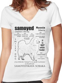 Samoyed. FAQ. Grown Up Women's Fitted V-Neck T-Shirt