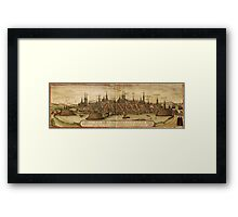 Lubeck Vintage map.Geography Germany ,city view,building,political,Lithography,historical fashion,geo design,Cartography,Country,Science,history,urban Framed Print