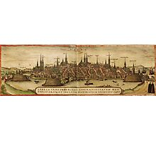 Lubeck Vintage map.Geography Germany ,city view,building,political,Lithography,historical fashion,geo design,Cartography,Country,Science,history,urban Photographic Print