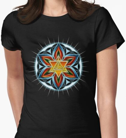 Merkaba, Flower Of Life, Metatrons Cube, Sacred Geometry Womens Fitted T-Shirt