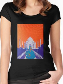 Psychedelic Taj Mahal Concert Poster Women's Fitted Scoop T-Shirt