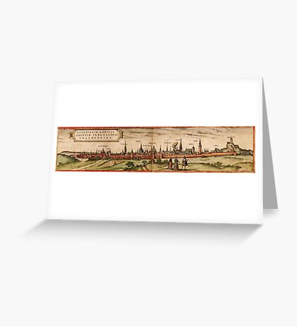 Lunenburg Vintage map.Geography Germany ,city view,building,political,Lithography,historical fashion,geo design,Cartography,Country,Science,history,urban Greeting Card