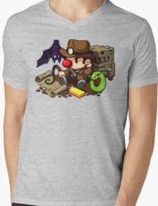 Spelunky guy, bat, snake and map! Mens V-Neck T-Shirt