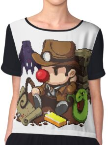 Spelunky guy, bat, snake and map! Chiffon Top