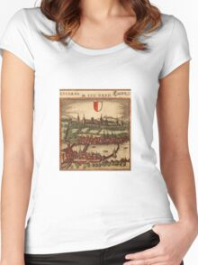 Luzern Vintage map.Geography Switzerland ,city view,building,political,Lithography,historical fashion,geo design,Cartography,Country,Science,history,urban Women's Fitted Scoop T-Shirt