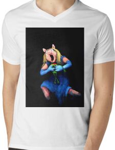 Miss Piggy Devouring Kermit Mens V-Neck T-Shirt