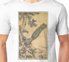 Shen Nanpin - Bamboo, Pine And Peacocks. Forest view: forest , trees,  fauna, nature, birds, animals, flora, flowers, plants, field, weekend Unisex T-Shirt