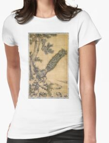 Shen Nanpin - Bamboo, Pine And Peacocks. Forest view: forest , trees,  fauna, nature, birds, animals, flora, flowers, plants, field, weekend Womens Fitted T-Shirt