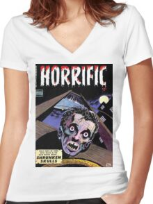 Horrific Tales comic cover Women's Fitted V-Neck T-Shirt