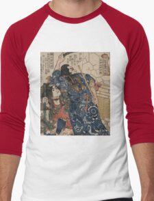 Utagawa, Kuniyoshi - Motosei Komei, Unri Kongo Soma, And Rokkasei Koryo. Man portrait:  mask,  face,  man ,  samurai ,  hero,  costume,  kimono,  tattoos ,  sport,  sumo, macho Men's Baseball ¾ T-Shirt