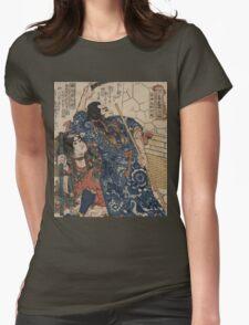Utagawa, Kuniyoshi - Motosei Komei, Unri Kongo Soma, And Rokkasei Koryo. Man portrait:  mask,  face,  man ,  samurai ,  hero,  costume,  kimono,  tattoos ,  sport,  sumo, macho Womens Fitted T-Shirt