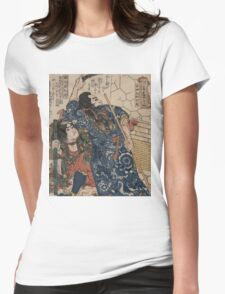 Utagawa, Kuniyoshi - Motosei Komei, Unri Kongo Soma, And Rokkasei Koryo. Man portrait:  mask,  face,  man ,  samurai ,  hero,  costume,  kimono,  tattoos ,  sport,  sumo, macho Womens Fitted T-Shirt