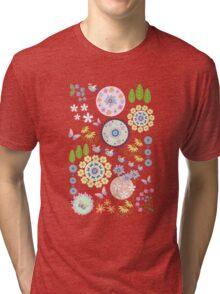 Cute summer pattern tee with flowers, butterflies & birds Tri-blend T-Shirt