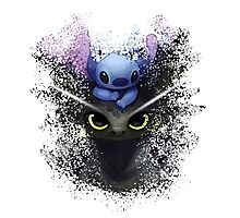 Baby Toothless Dragon and Stitch Photographic Print