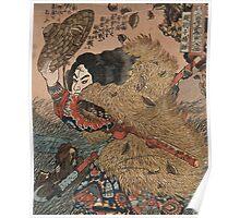 Utagawa, Kuniyoshi - Hero Of The Suikoden. Man portrait:  mask,  face,  man ,  samurai ,  hero,  costume,  kimono,  tattoos ,  sport,  sumo, macho Poster