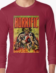 Horrific Tales Zombie Conductor Comic Cover Long Sleeve T-Shirt