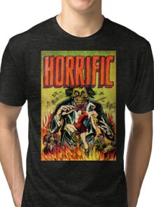 Horrific Tales Zombie Conductor Comic Cover Tri-blend T-Shirt