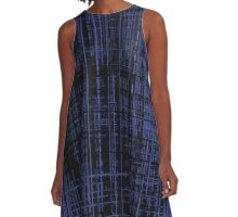Line Art Dark Blue Matrix A-Line Dress