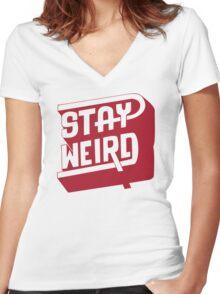 STAY WEIRD Women's Fitted V-Neck T-Shirt