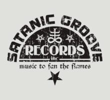 Vintage Style Satanic Record Label with Cross & Pentagram by TropicalToad
