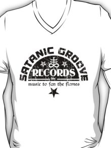 Vintage Style Satanic Record Label with Cross & Pentagram T-Shirt