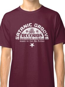 Vintage Style Satanic Record Label with Cross & Pentagrams Classic T-Shirt