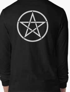 Pentacle, Witch, Modern Pagan, WICCA, Witchcraft, religion, White on Black Long Sleeve T-Shirt