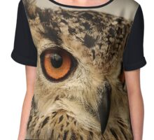 Eurasian Eagle Owl Portrait Chiffon Top
