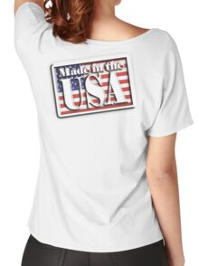 AMERICAN, Stars and Stripes, Made in the USA, Flag, Manufactured in America, US, USA, American Women's Relaxed Fit T-Shirt