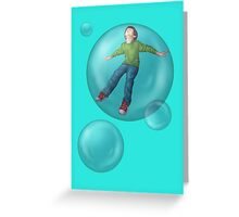 Flying Owen Bubble Greeting Card