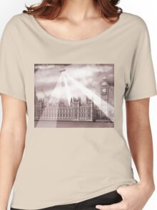 UFO Over London (Sepia) 2 Women's Relaxed Fit T-Shirt