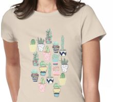 Cute Cacti in Pots Womens Fitted T-Shirt