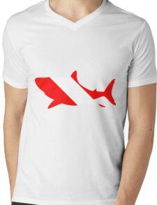 Shark Dive Flag Mens V-Neck T-Shirt