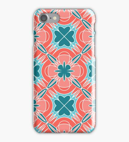 Decorative print with red blue geometric ornament iPhone Case/Skin