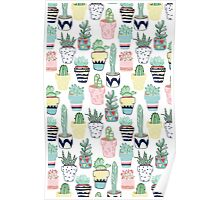Cute Cacti in Pots Poster